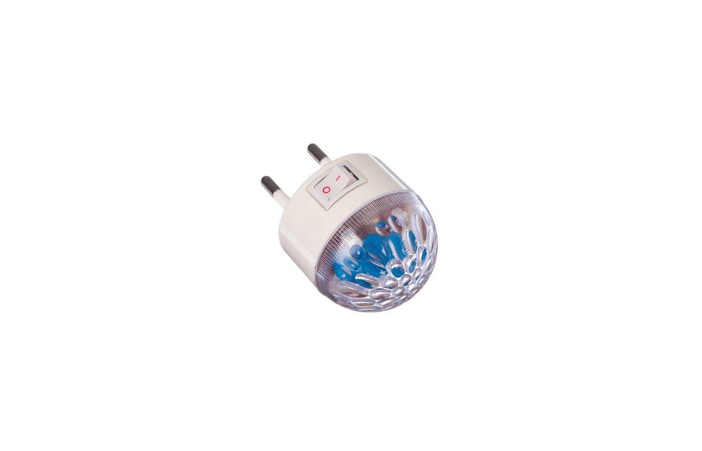 Декоративный светильник 920-036 Светильник-ночник в розетку Шарик с переключателем 0.5Вт пластик металл 7х7см
