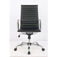 Фото College Кресло офисное H-966L-1, черный, кожа, 120 кг, подлокотники кожа/хром, крестовина хром, (ШxГ