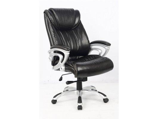 College Кресло руководителя HLC-0505, черный, экокожа, 120 кг, подлокотники пластик/кожа, крестовина