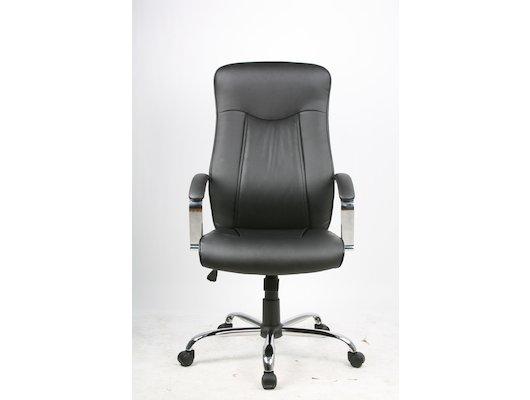 College Кресло руководителя H-9152L-1, черный, экокожа, 120 кг, подлокотники кожа/хром, крестовина х