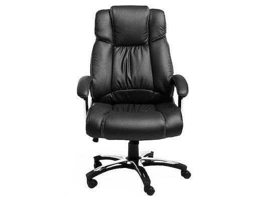 College Кресло руководителя H-8766L-1 Черный экокожа, 120 кг, подлокотники кожа/хром, крестовина хро