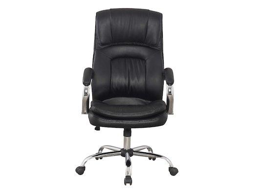 College Кресло руководителя BX-3001-1 Черный, экокожа, 120 кг, подл. металл/хром/кожа, крест. металл