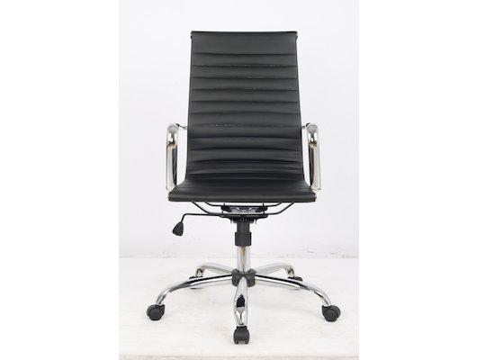 College Кресло офисное H-966L-1, черный, кожа, 120 кг, подлокотники кожа/хром, крестовина хром, (ШxГ