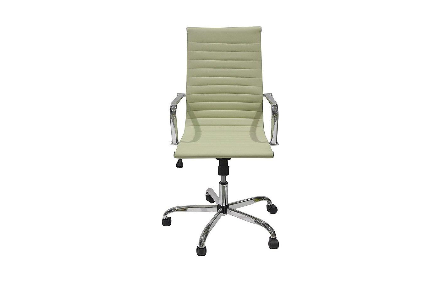 College Кресло офисное H-966L-1, бежевый, кожа, 120 кг, подлокотники кожа/хром, крестовина хром, (Шx