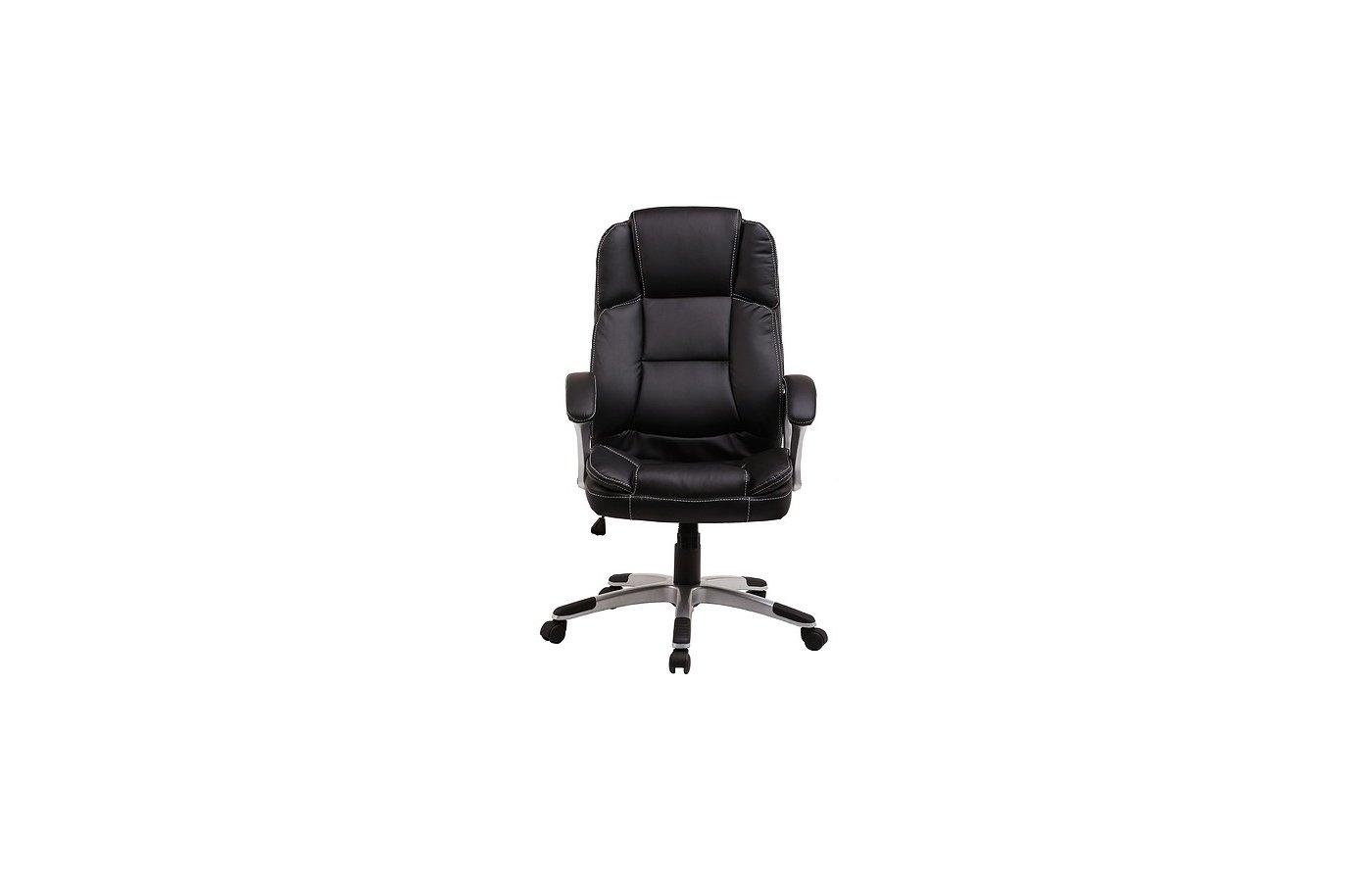 College Кресло руководителя BX-3233 Черный, экокожа, 120 кг, подл. пластик/кожа, крест. пластик с вс