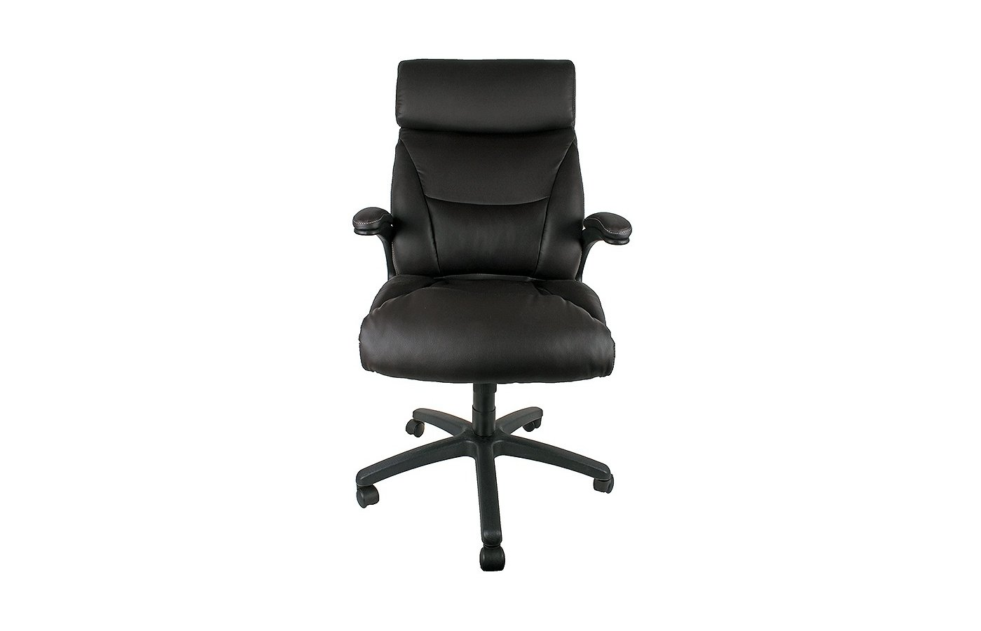 College Кресло офисное HLC-0383-1, коричневый, экокожа, 120 кг, подлокотники черный пластик/кожа, кр