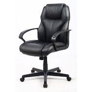 Фото College Кресло офисное HLC-0601, черный, экокожа, 120 кг, подлокотники черный пластик/кожа, крестови