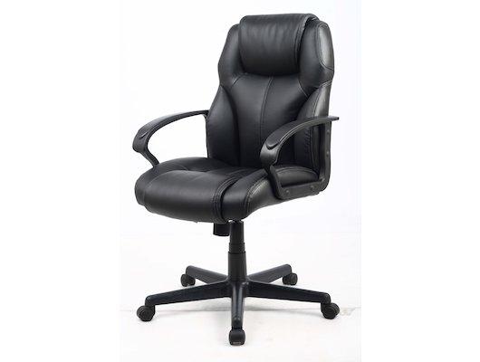 College Кресло офисное HLC-0601, черный, экокожа, 120 кг, подлокотники черный пластик/кожа, крестови