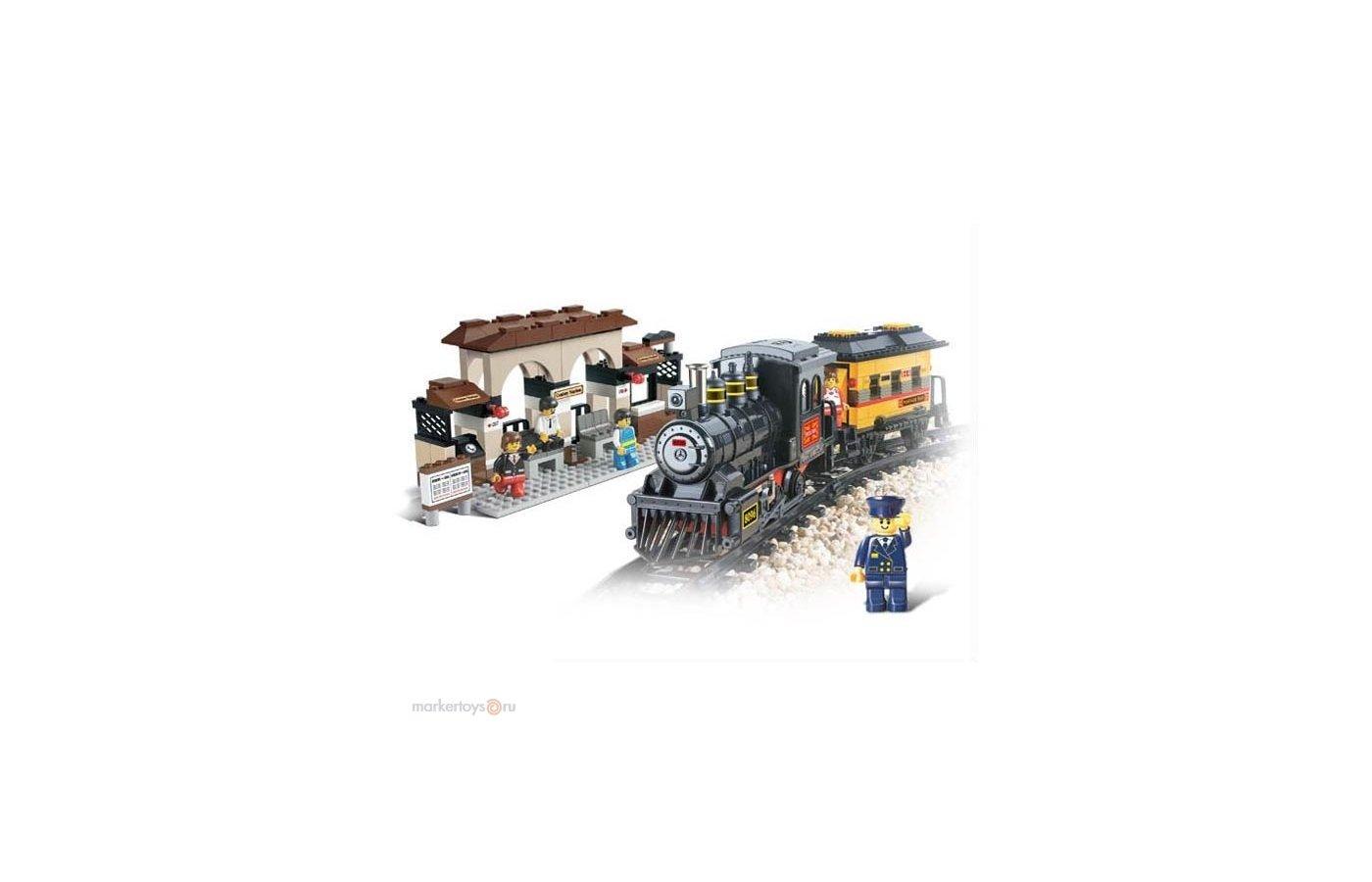 Конструктор SLUBAN 38-0235 Вокзал+паровоз