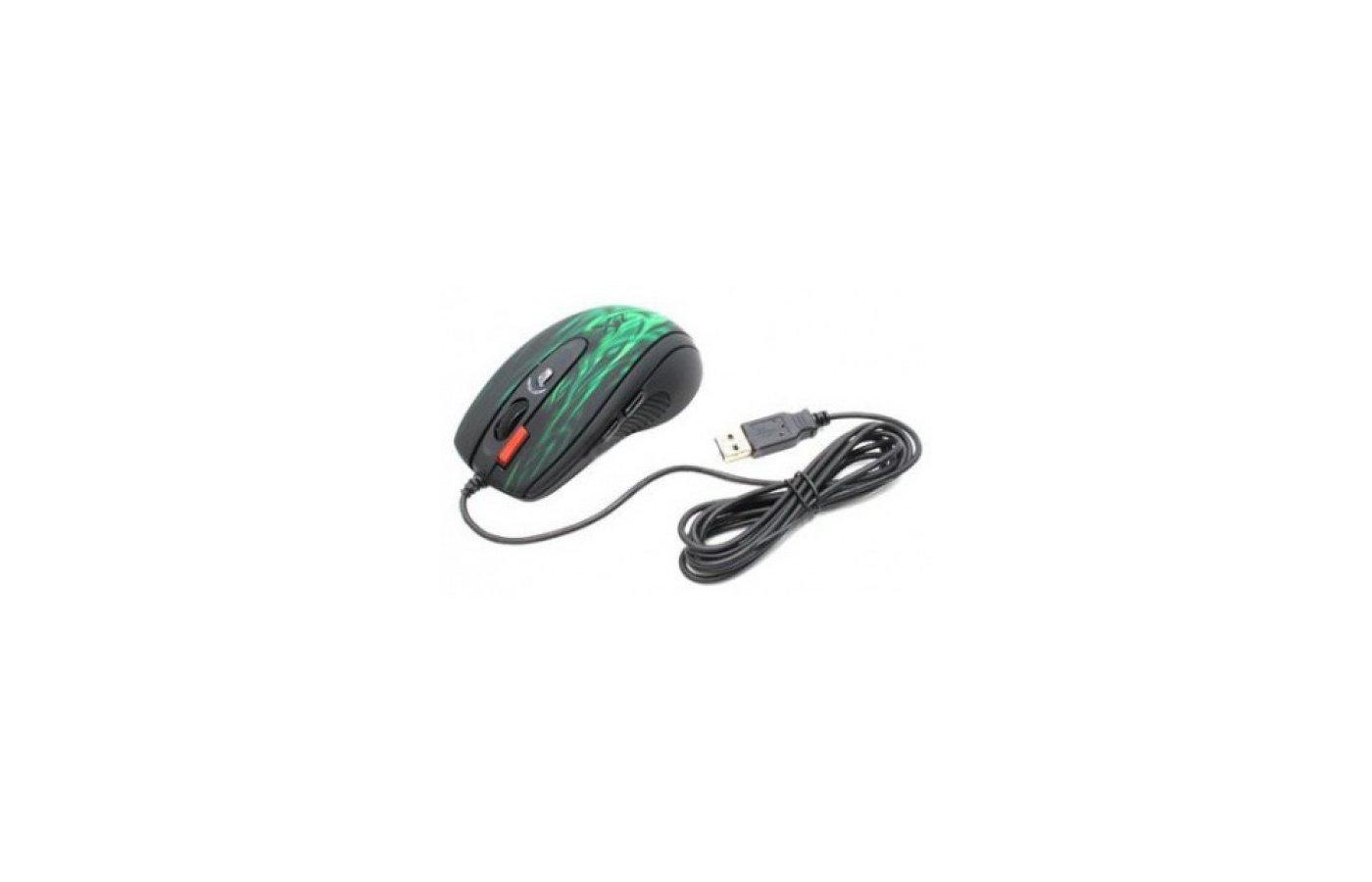 Мышь проводная A4Tech XL-750BK зеленый/черный лазерная (3600dpi) USB2.0 игровая (6but)