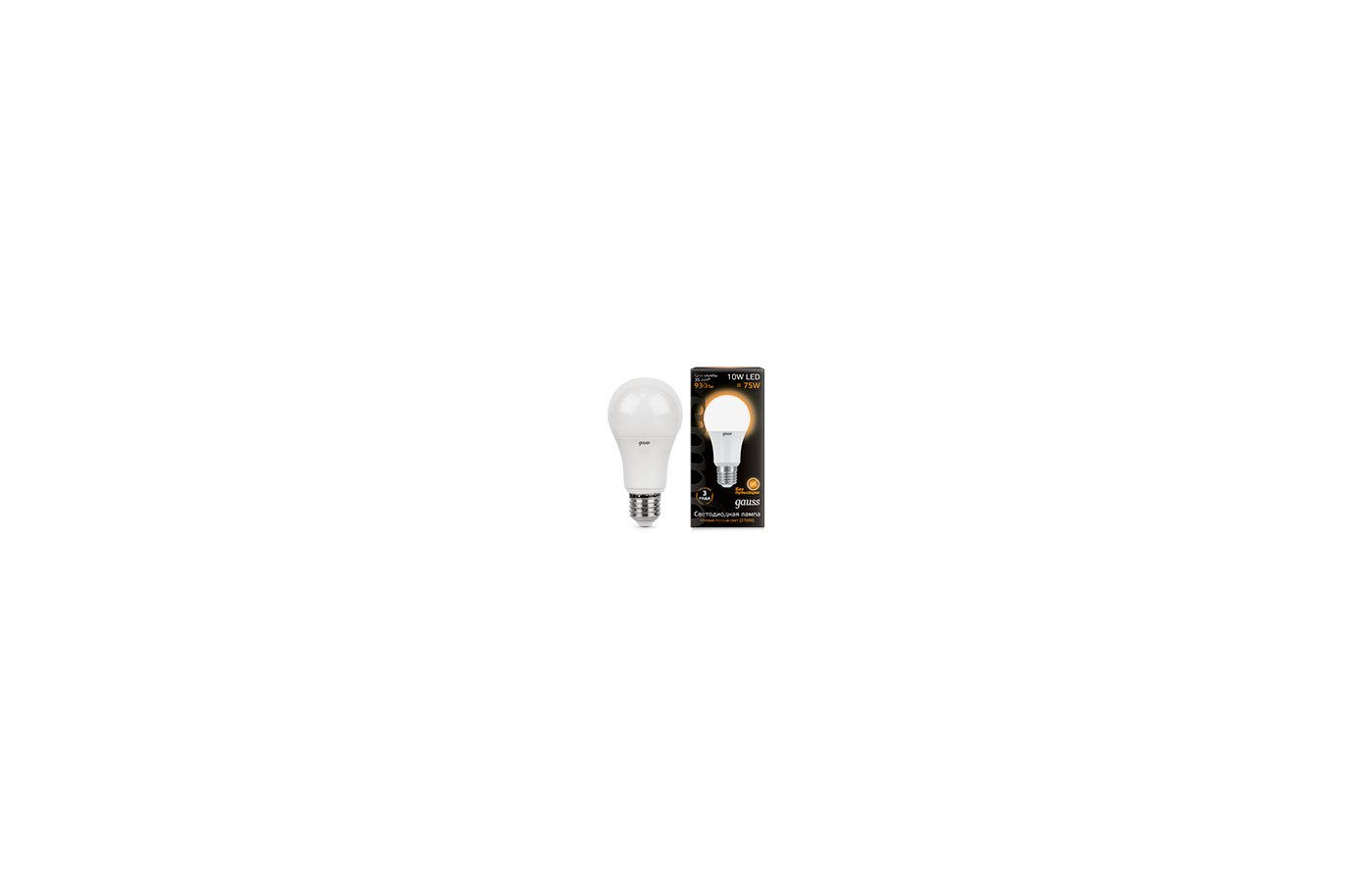 Лампочки LED Gauss LED A60 10W E27 2700K 1/10/40