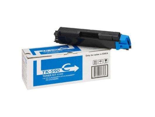 Картридж лазерный Cactus CS-TK590C совместимый голубой для FS-C2026MFP/C2126MFP/C2526MFP/C2626MFP/C5250DN (5000стр.)