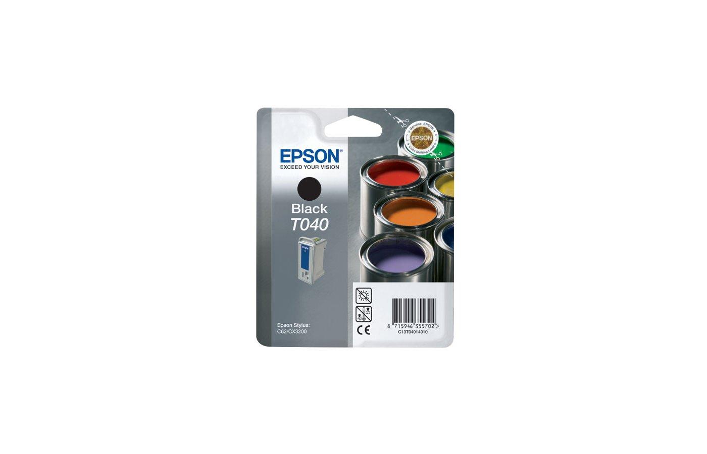 Картридж струйный Epson C13T040140 черный для Stylus C62