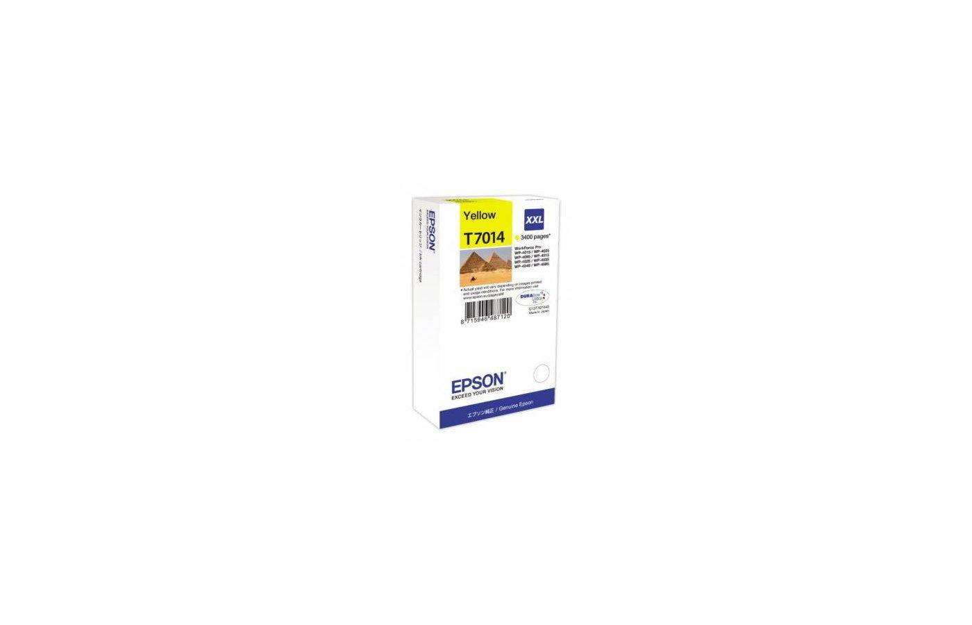 Картридж струйный Epson C13T70144010 картридж (Yellow для WP-4000/5000 series,XL 3.4k (желтый))