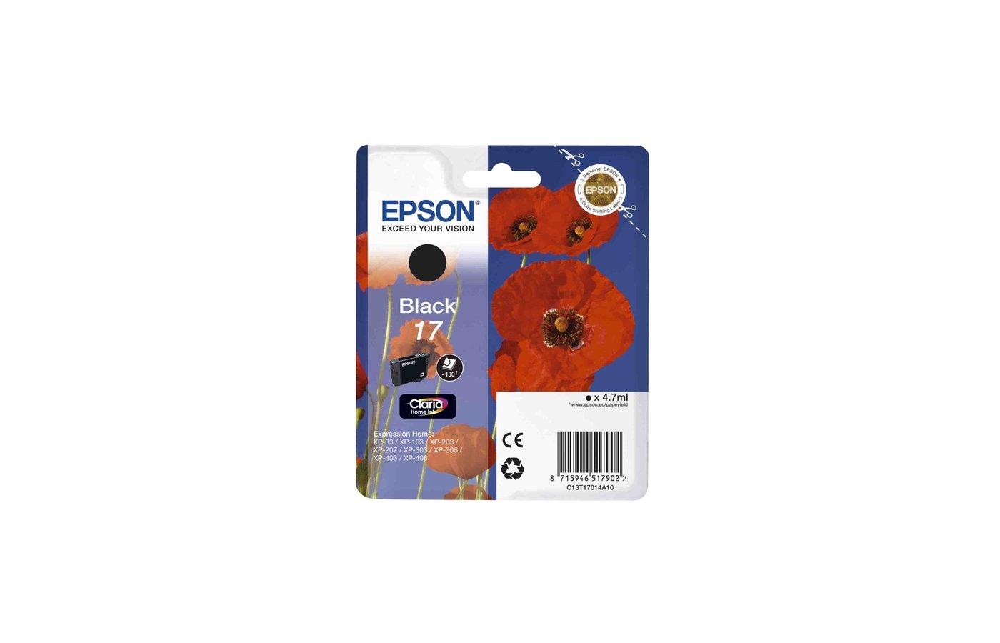 Картридж струйный Epson C13T17014A10 картридж (Black для XP33/203/303 (черный))