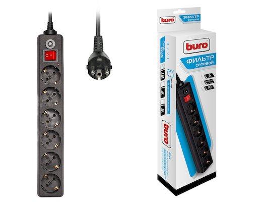 Сетевой фильтр BURO 600SH-1.8-B 6роз./1.8м. черный
