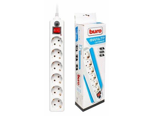 Сетевой фильтр BURO 600SH-1.8-UPS-W 6роз./1.8м. белый