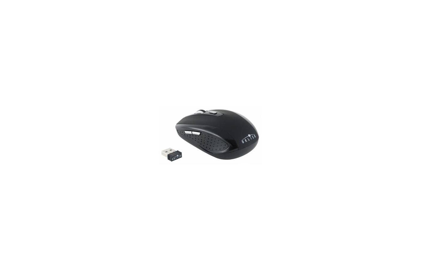 Мышь беспроводная Oklick 455MW черный оптическая (1600dpi) беспроводная USB (5but)