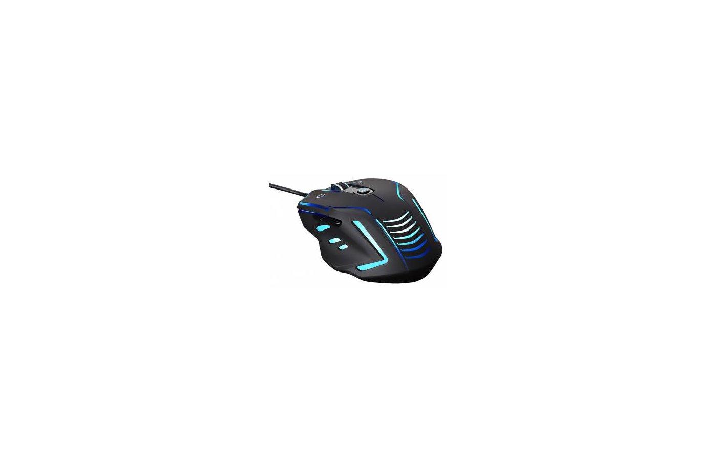 Мышь проводная Oklick 735G INTERCEPTOR черный/голубой оптическая (2400dpi) USB игровая (6but)