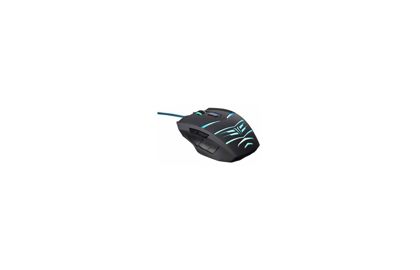 Мышь проводная Oklick 745G LEGACY черный/голубой оптическая (2400dpi) USB игровая (6but)