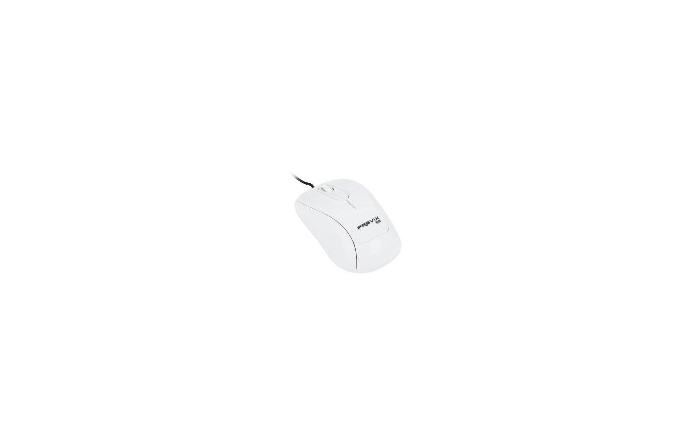 Мышь проводная Pravix ZC-604W, белый цвет, провод 1.5 м, USB-порт