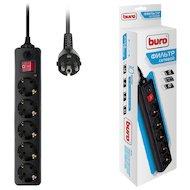 Сетевой фильтр BURO 500SH-1.8-B 5роз./1.8м. черный