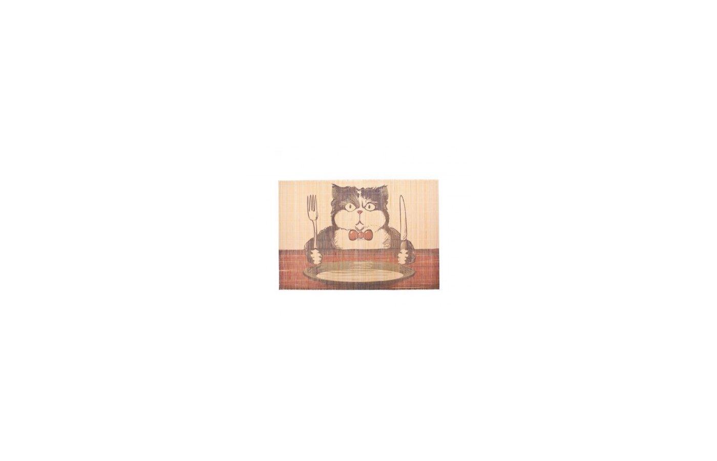 Текстиль кухонный VETTA 890-137 Салфетка бамбук 45х30см Котэ кушает