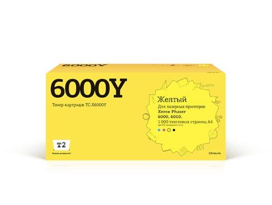 Картридж лазерный T2 совместимый TC-X6000Y для Xerox Phaser 6000/6010/WC6015 (1000 стр.) желтый, с чипом