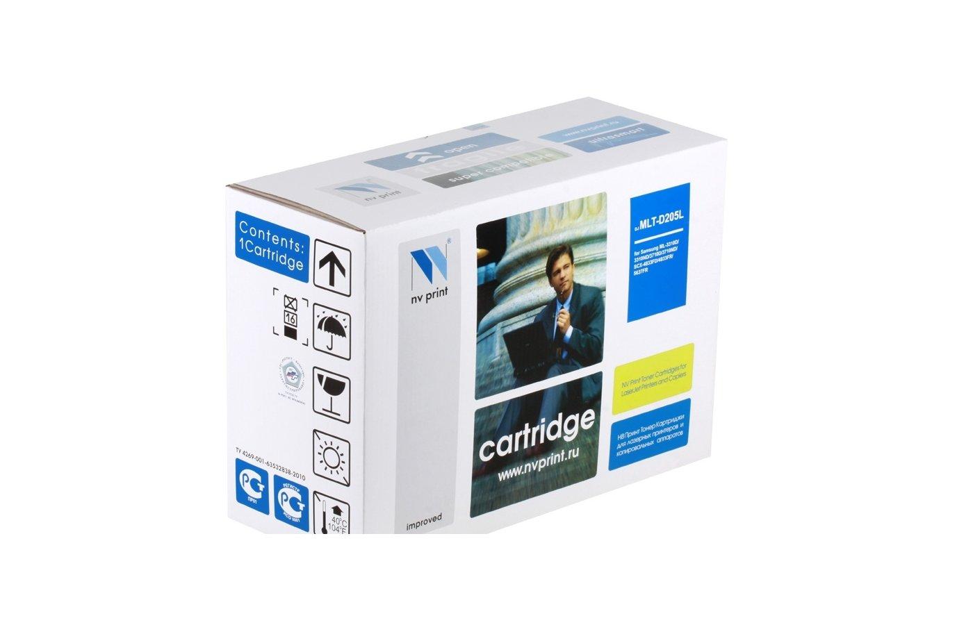 Картридж лазерный NV Print совместимый Samsung MLT-D205E для ML-3310/3710/SCX-4833/5637. Чёрный. 10000 страниц.