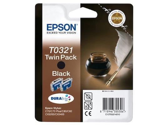 Картридж струйный Epson C13T03214210 картридж Black для Stylus Color C70/C80/C82 (double pack) (черный)