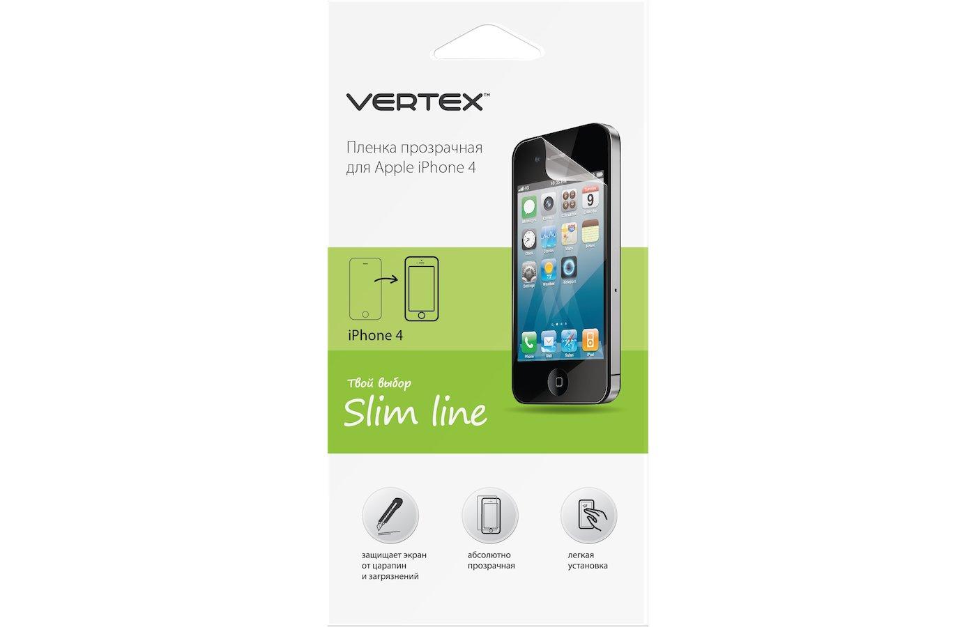 Стекло VERTEX пленка для iPhone 4/4S глянцевая