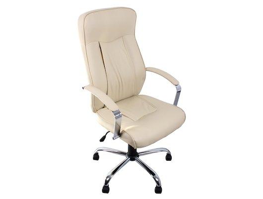 College Кресло руководителя H-9152L-1, бежевый, экокожа, 120 кг, подлокотники кожа/хром, крестовина