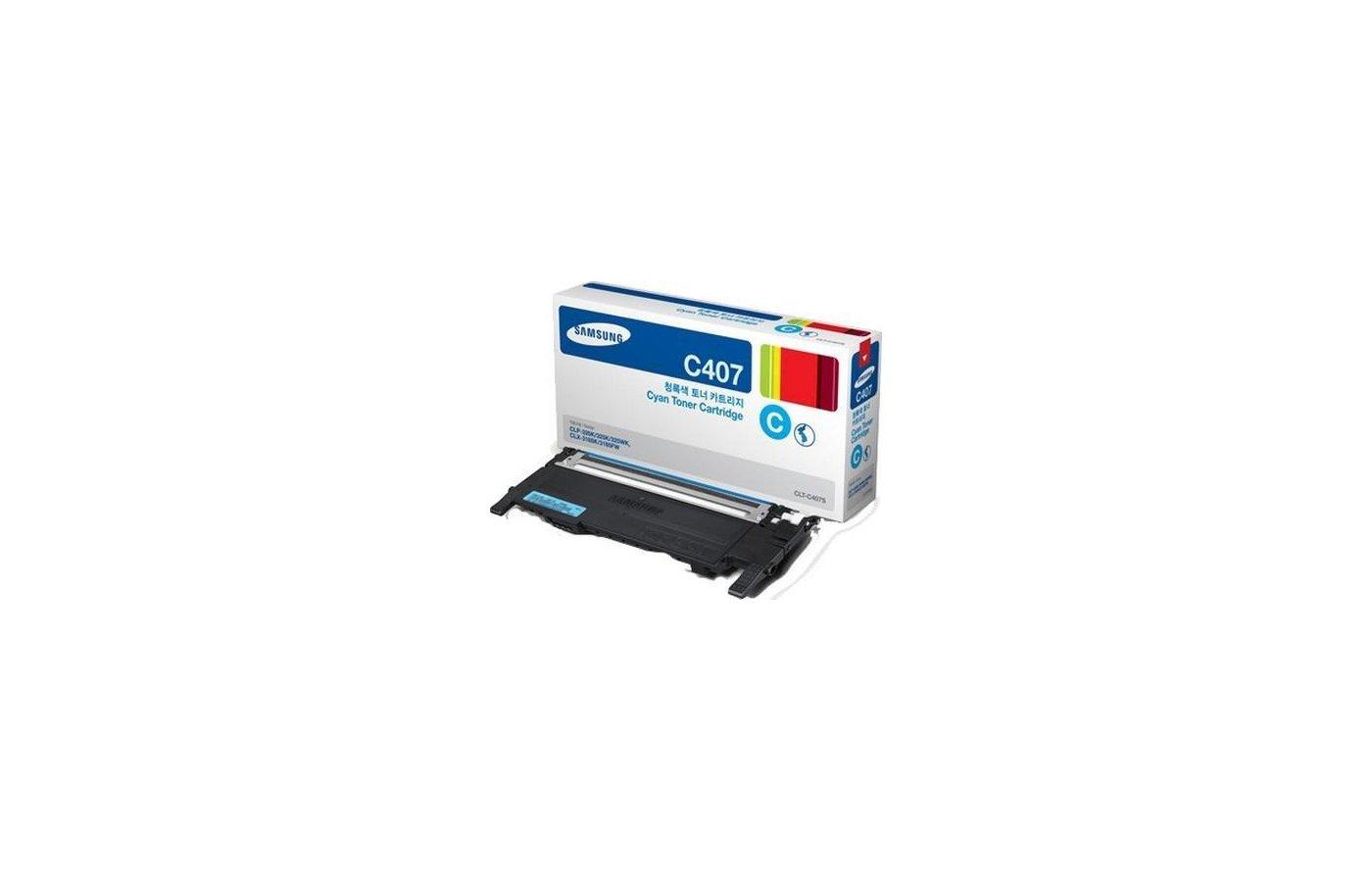 Картридж лазерный Samsung CLT-C407S голубой для CLP-320/320N/325 / CLX-3185/3185N/3185FN (1000стр.)