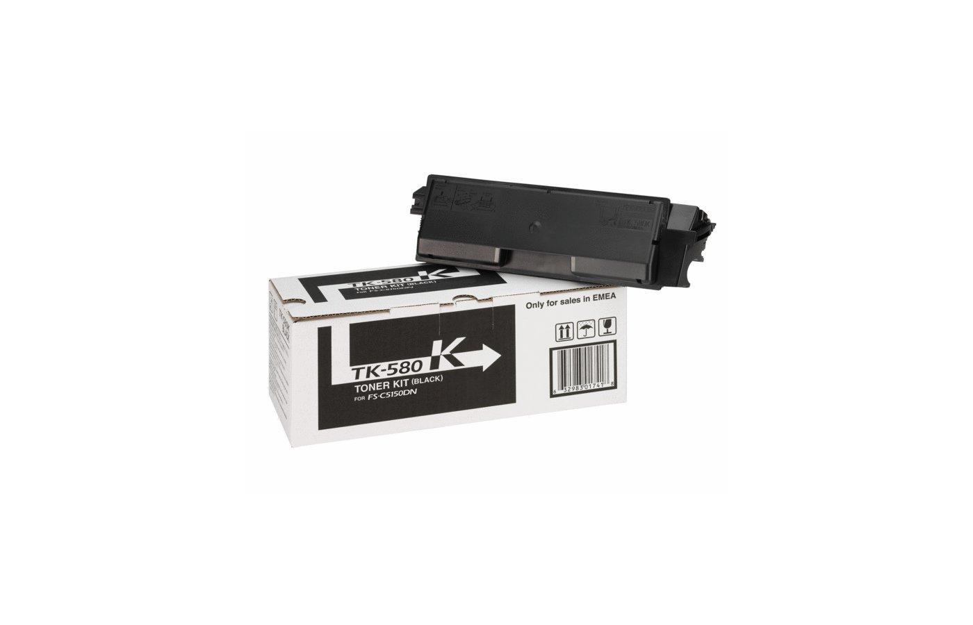 Картридж лазерный Kyocera TK-580Bk для FS-C5150DN. Чёрный. 3500 страниц.