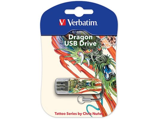 Флеш-диск Verbatim 16Gb Store n Go Mini Tattoo Dragon 49888 USB2.0 белый