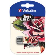 Фото Флеш-диск Verbatim 16Gb Store n Go Mini Tattoo Rose 49885 USB2.0 белый