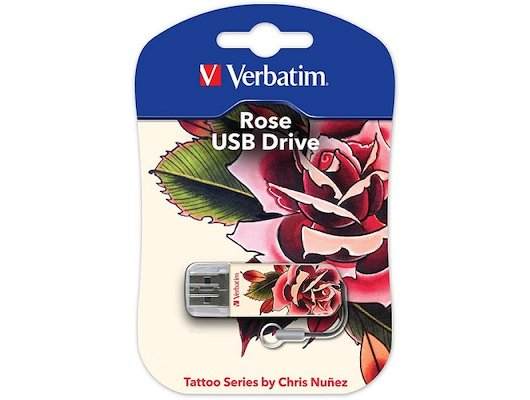 Флеш-диск Verbatim 16Gb Store n Go Mini Tattoo Rose 49885 USB2.0 белый