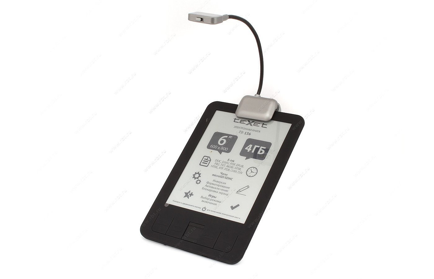 Электронные книги TeXet TB-156 4Gb black + лампа подсветки