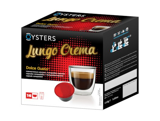 капсулы для кофеварок Oysters Lungo Crema 16 капсул