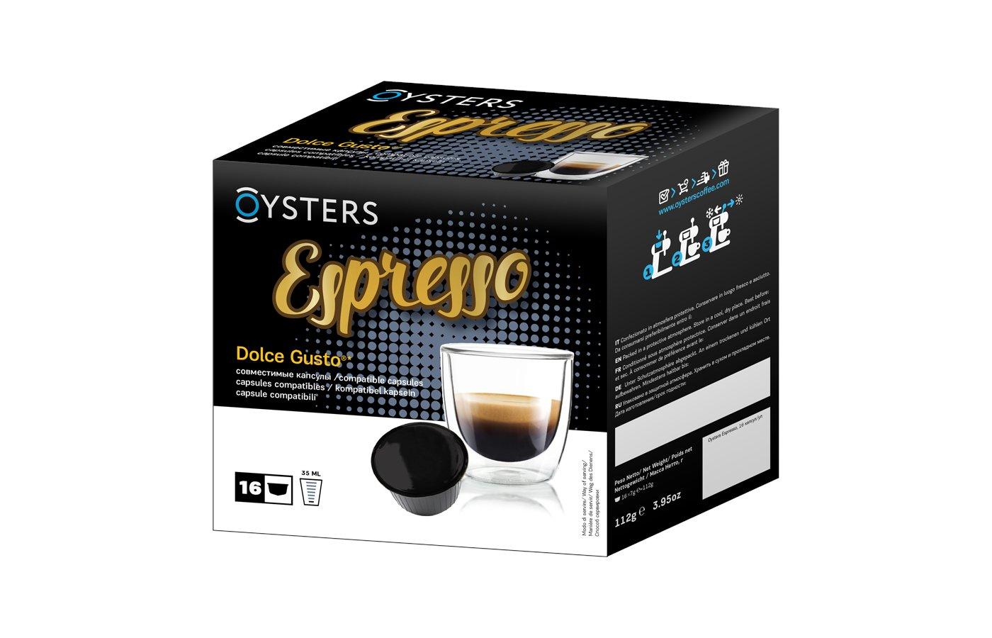 капсулы для кофеварок Oysters Espresso 16 капсул