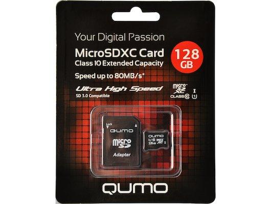 Карта памяти QUMO microSDXC 128Gb Сlass 10 UHS-I + адаптер