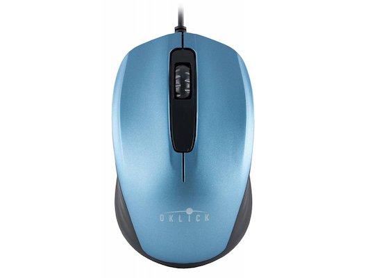 Мышь проводная Oklick 195M синий/черный оптическая (800dpi) USB (2but)