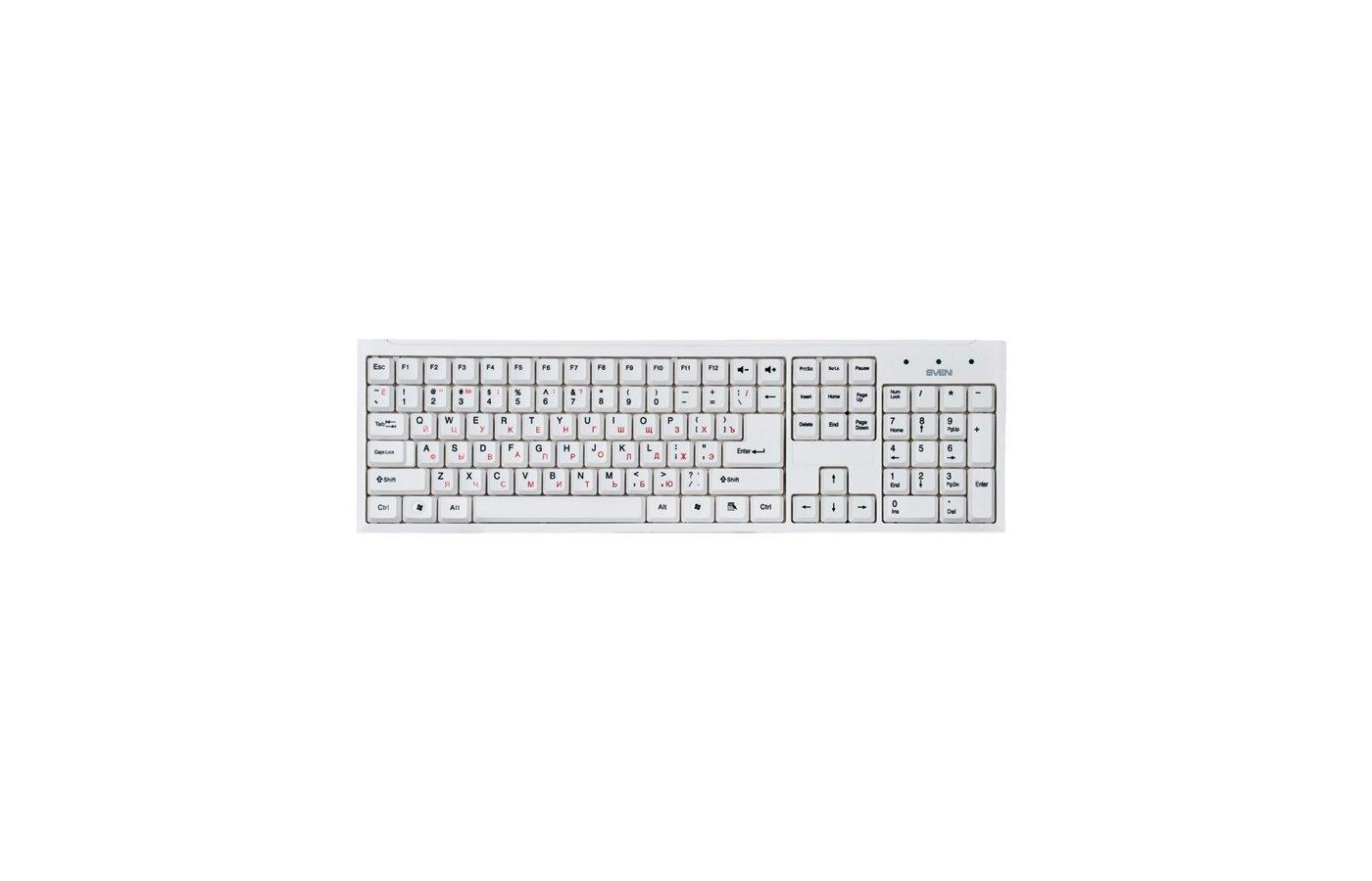 Клавиатура проводная SVEN Standard 303 USB белая