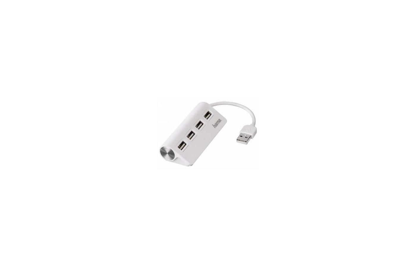 Разветвитель USB 2.0 Hama TopSide(12178) портов 4 белый