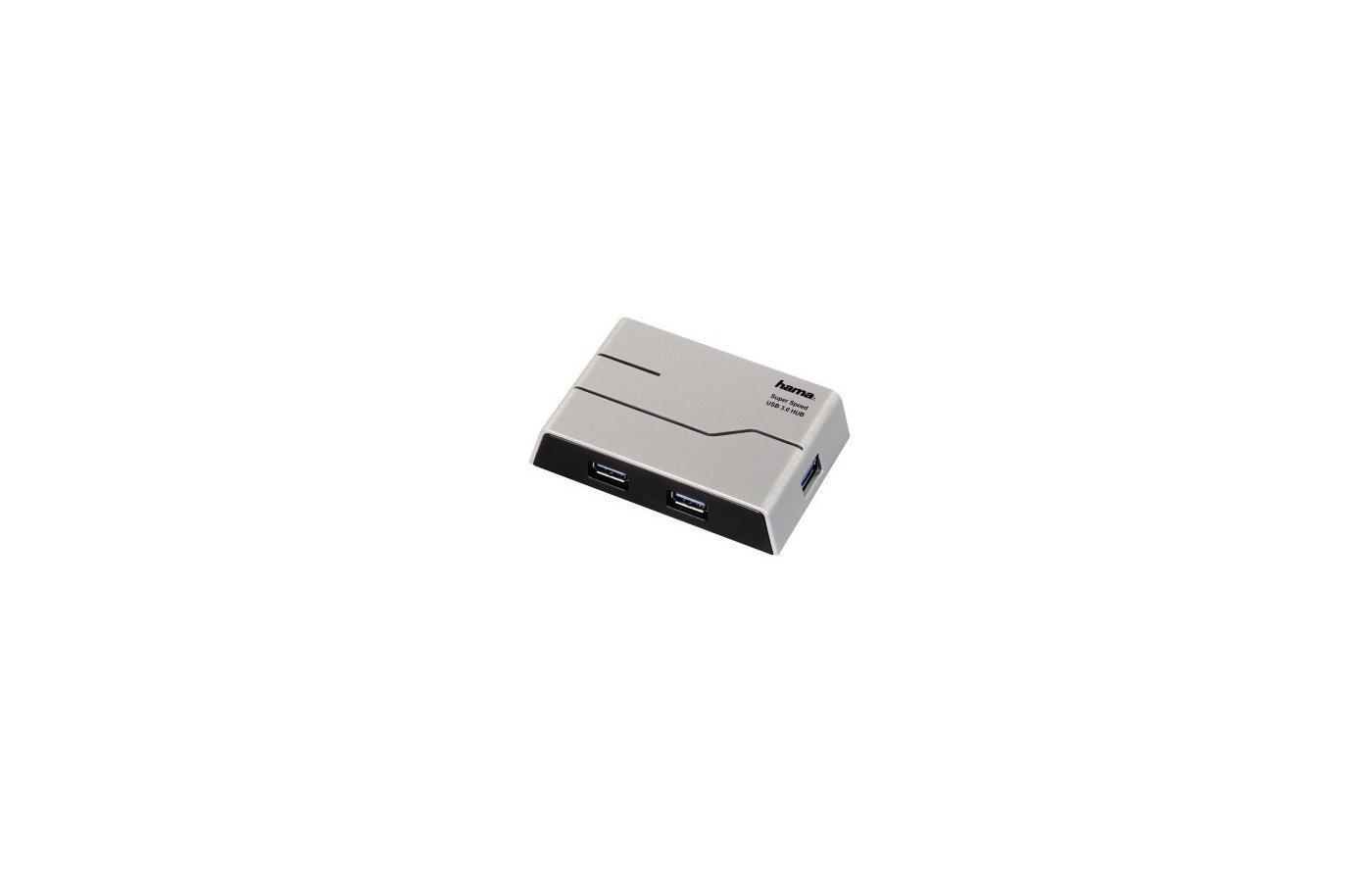 Разветвитель USB 3.0 Hama SuperSpeedActive(39879) портов 4 серебристый