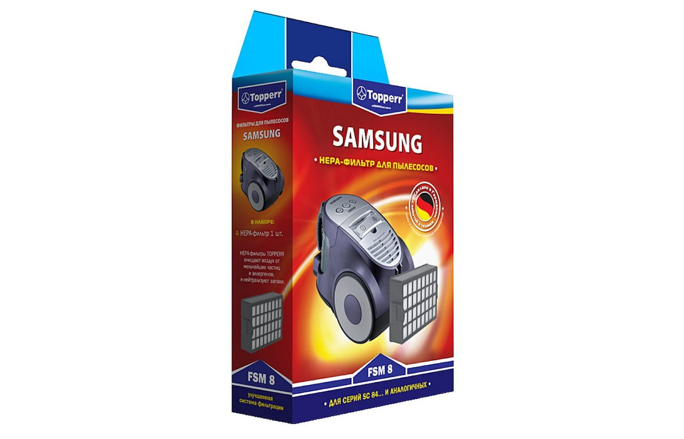 Фильтр для пылесоса TOPPERR 1106 FSM 8 HEPA-фильтр д/пылесоса Samsung SC84... серии H12 1 шт.в ед.