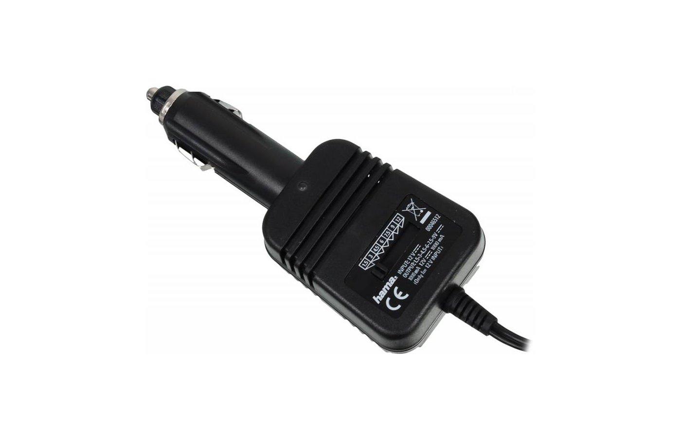 Сетевой адаптер для ноутбука Зарядное устройство Hama H-46512 автомобильный 1000мА, 1.5/3/4.5/6/7.5/9/12В (8штекеров)