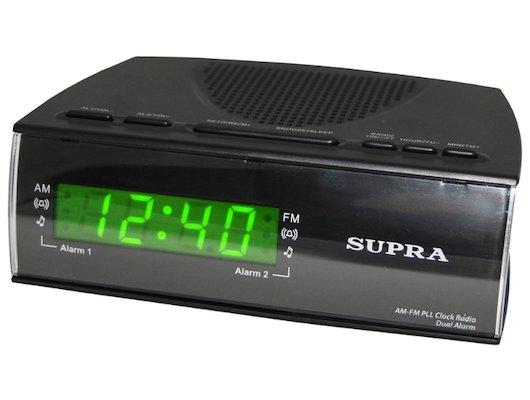 Настольные часы SUPRA SA-38FM black/green