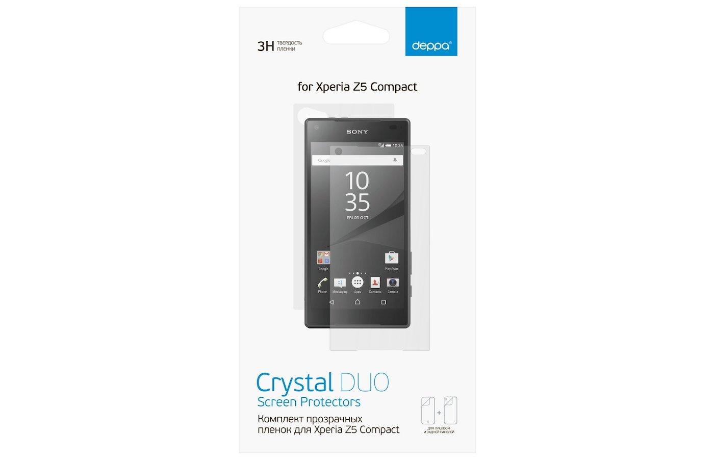 Стекло Deppa пленка для Sony Xperia Z5 Compact (Front/Back) прозрачная