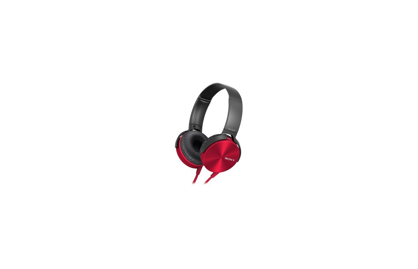 Наушники полноразмерные SONY MDR-XB450AP красный